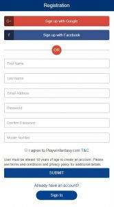 playwin fantasy signup form