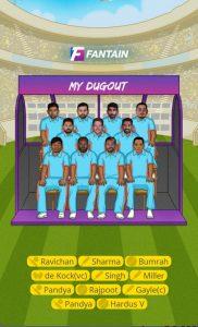 KXIP vs Mi IPL 2019 9th Match - Fantain Team