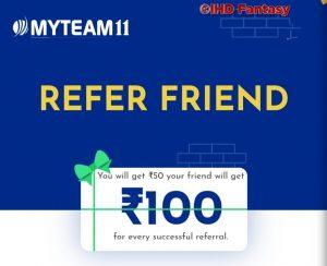 MyTeam11 Refer & Earn Rs 50 / Referral