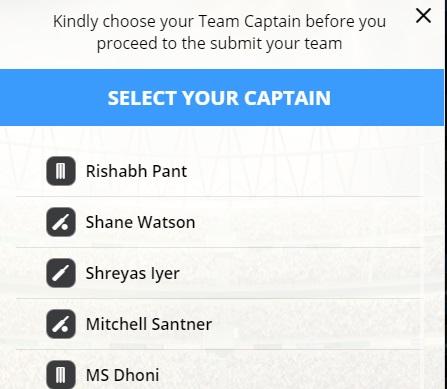 livepool classic fantasy cricket captain selection