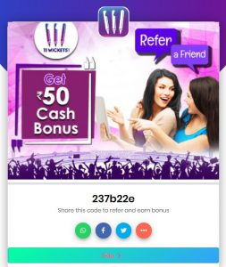 11wickets signup refer & earn, 11Wickets Referral Code