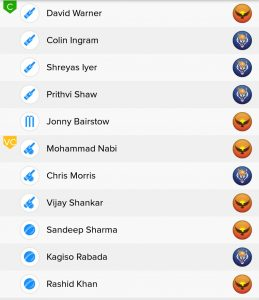 SRH vs DC BalleBaazi Fantasy Teams