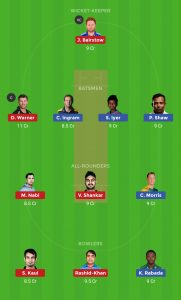 SRH vs DC Dream 11 Head To Head Teams