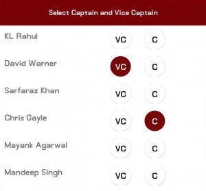 cricclash captain vice captain