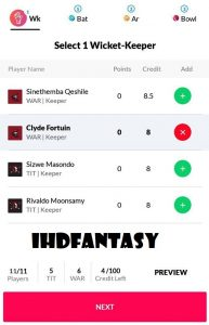dotball fantasy cricket team selection