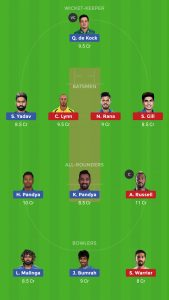 mi vs kkr dream 11 team