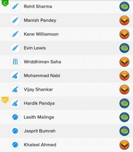SRH vs MI BalleBaazi Fantasy Team
