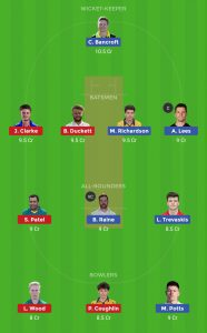 DUR vs NOT Dream11 Team