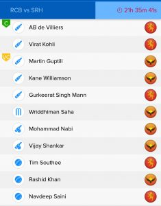 RCB vs SRH BalleBaazi Fantasy Team