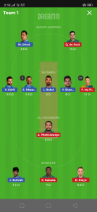 IND vs SA Dream11 Team for today's match, IND vs SA dream11 team
