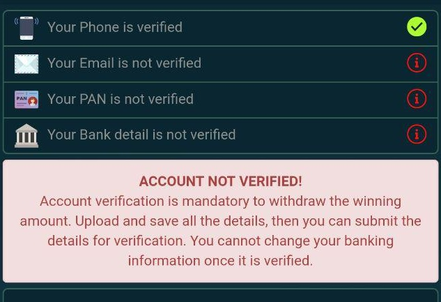 cricmoney account verification