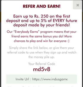 indusgames referral program