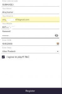 play11 fantasy referral code register