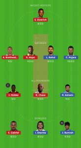 WI vs IND Dream11 Team for small league