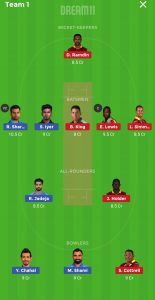 IND vs WI Dream11 Team Grand League