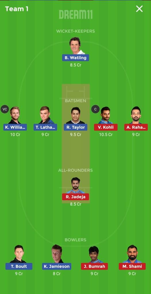 NZ vs IND dream11 team prediction small League