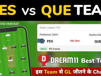 PES vs QUE Dream11 Team Prediction for Today's PSL Match