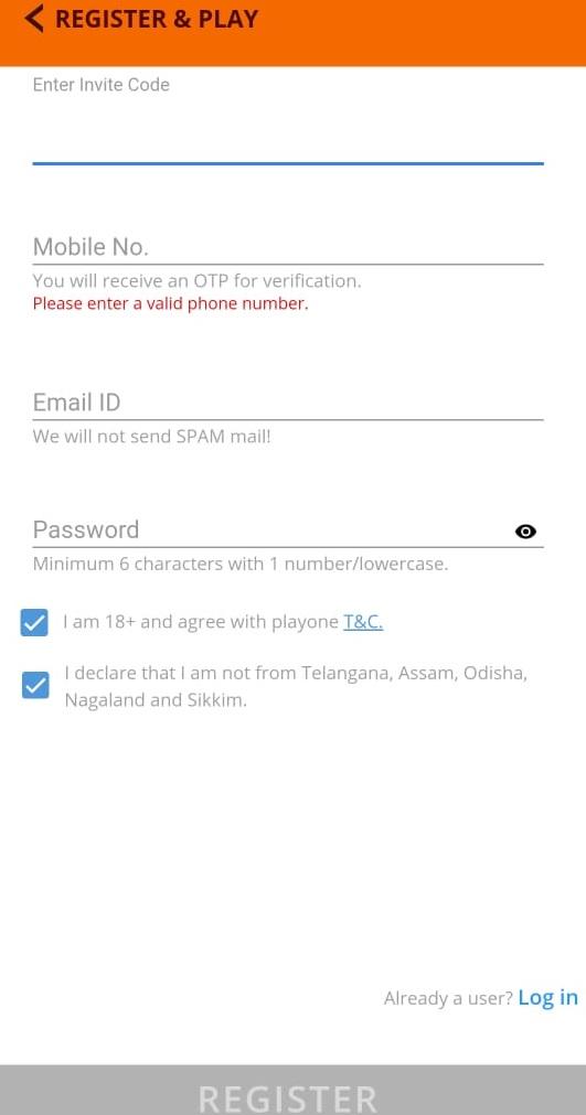 PlayOne Create Account