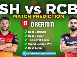 IPL 2020 – Match 03, SRH vs RCB Dream11 Team Prediction Today Match