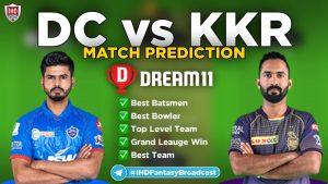 IPL 2020 – Match 42, KKR vs DC Dream11 Team Prediction Today Match