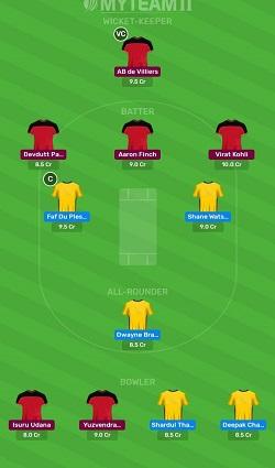 CSK vs RCB myteam11 fantasy team