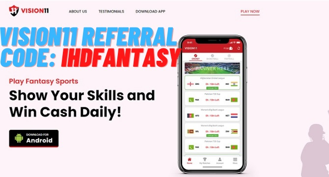 Download Vision11 Fantasy Cricket App. Install and Open Vision11 Fantasy App. Register >> Open App. Enter Vision11 Referral Code SUVAM. Tap on Three line >> Refer and Earn. Share your Invite link with friends and tell them to download app. Don't forget to tell them to enter refer code otherwise you will not receive any bonus.