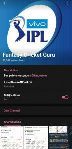 Fantasy cricket guru telegram channel